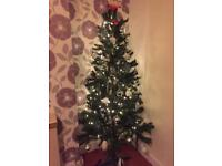 6ft/180cm Christmas tree + lights + decorations