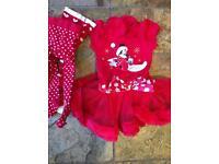 Disney Christmas Dress 9-12 months + 2x tights