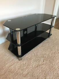 TV Stand - Chrome & Black Glass