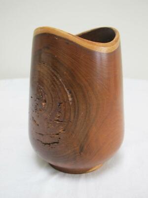 Vintage Laburnum Vase 1980s Rustic Turned Wood Treen Artist Signed 80s