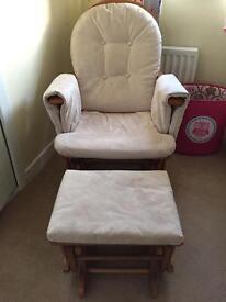 Rocking nursing chair and stool