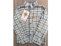 Designer Star51 boys shirt, blue check, gold buttons. Brand new.