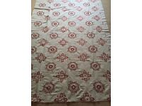 Luxury Designer Fabric - Red & White Embroidery Detail (2m 10cm) BATTERSEA COLLECTION