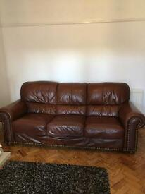 Shabby chic 3 seater brown leather sofa-vintage
