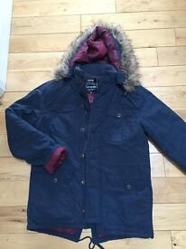 Mens size small parka coat fab condition