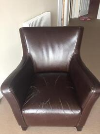 Brown bi-cast leather armchair/ chair