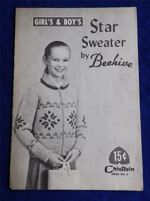 STAR SWEATER BY BEEHIVE CRAFT PATTERN INSTRUCTION LEAFLET VINTAGE SERIES 4