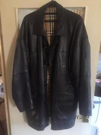 Men's Burberry leather jacket size XL in brown