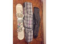 Salomon Snowboard, bindings and Dakine carrier