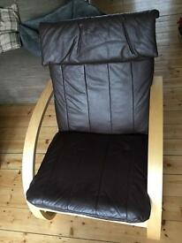 IKEA Poang style leather chair and footstool