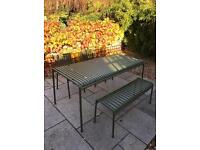 Garden furniture by Hay, bench, table, chairs