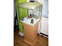 GLASS BOW FRONTED AQUARIUM WITH ACCESSORIES.FREE DELI VERY LOCAL TO NEW MILTON