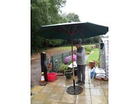 Garden wind up parasol and base