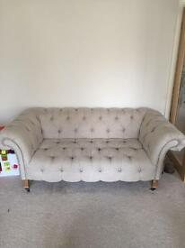 2 seater linen Chesterfield sofa