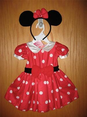 Baby Girls Halloween Costume (NWT Disney MINNIE MOUSE Infant Baby Girls Halloween Costume Dress + Ears 9)