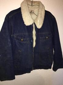 Ladies sheepskin denim jacket size L