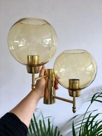 Pair of Vintage Glass Globe and Brass Wall Sconce Lights Fully Rewired