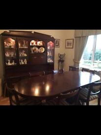 Dinning room table, chairs and cabinet