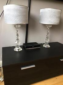 2 x Beautiful Glass Matching Table Lamps