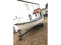 14ft x 6ft fishing boat, clinker, dingy, dory, trailer