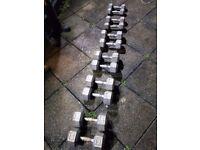 Full set hexagonal iron dumbells
