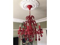 Large red glass chandelier