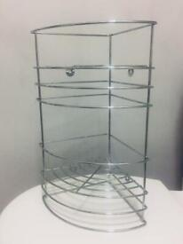 Bathroom two tier corner shelves storage silver - brand new