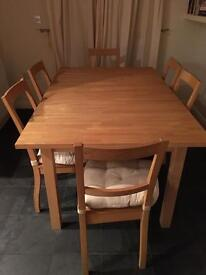 Ikea beech block extending dining kitchen table and six chairs