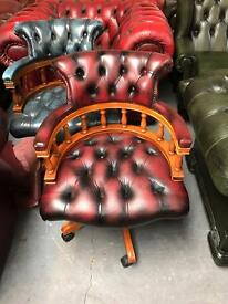 Fantastic vintage oxblood leather chesterfield captains chair can deliver