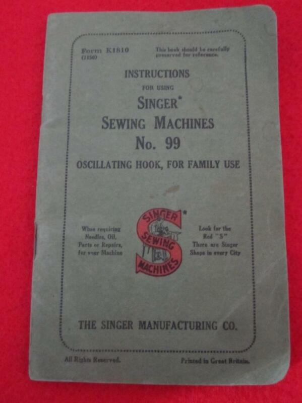 SINGER  SEWING MACHINES  MODEL 99 MANUAL OSCILLATINGHOOK FOR FAMILY USE