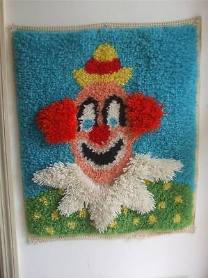 """Vintage 1980's Completed Latch Hook Rug Wall Hanging Clown 25"""" x 21"""""""