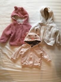 6-9m girls hooded cardigans
