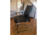 LEATHER & CHROME OFFICE CHAIR