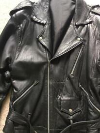 Men's black leather biker belted jacket -size S/M