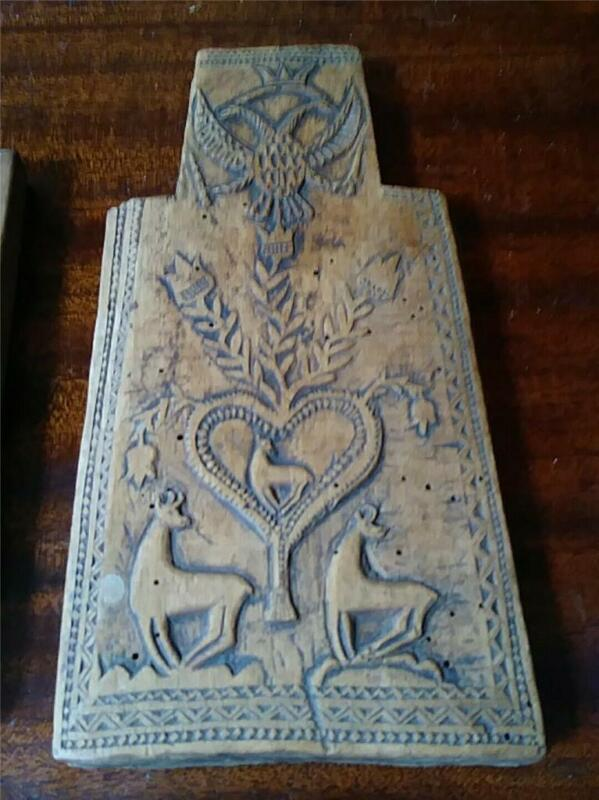Russian Antique Folk Art Carved Wood Plaque or Mold W Eagles Deers Hearts
