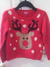 Girls boys Rudolph jumper snow Christmas Xmas 6-7