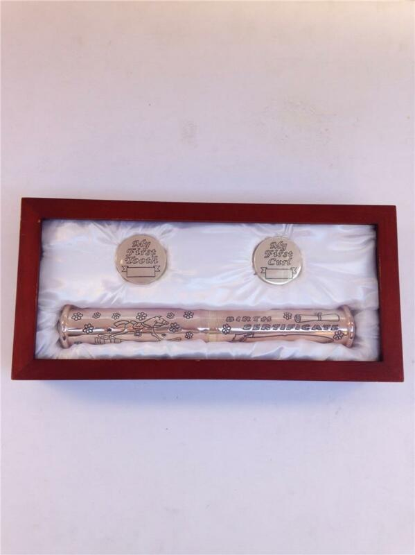 Stephan Baby Silverplate Keepsake Gift Set-First Curl, Tooth & Birth Certificate
