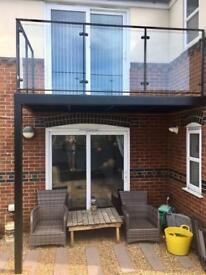 Balcony with toughened safety glass