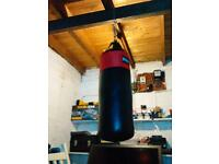 Lonsdale medium punch bag and everlast gloves