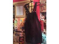 Black Denim Pinafore / Dungaree dress