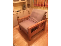Solid oak single futon sofa bed/armchair by Futon Company, very good condition