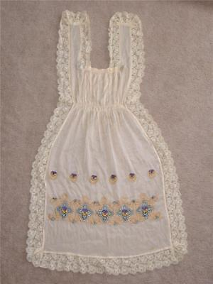 Antique Edwardian French Silk Embroidered Pinafore Apron Pansy Flowers Lace WWI