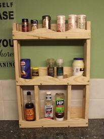 Handmade wooden shelf unit.