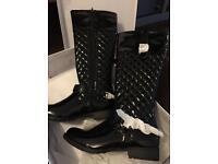 Brand new HAT21 black patent size 5 boots women