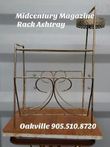 Oakville METAL MAGAZINE RACK & ASHTRAY Retro Vintage Mid-century Genuine Gold Standing MCM 1960s 60s Decor