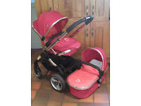 iCandy Peach Pram/Carrycot & Pushchair with Accessories in Tomato (Red)