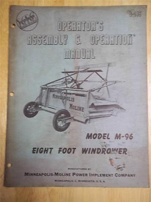 Original Operatorassembly Manualminneapolis Moline M-96 8 Windrower1949