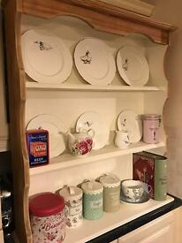 Pine plate rack dresser top shelves shabby chic painted cream