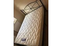 Double bed frame with silent night mattress