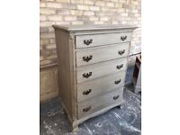 CHEST OF5 DRAWERS FRENCH GREY PAINTED SOLID WOOD